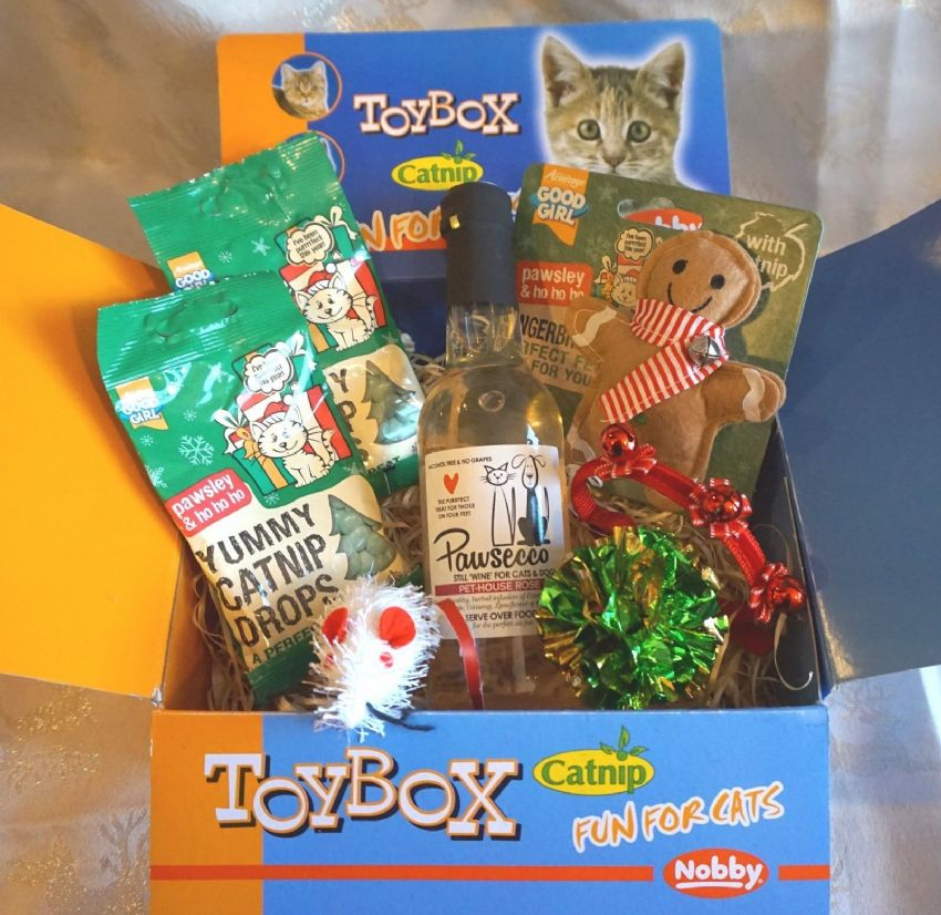 LUXURY CAT CHRISTMAS GIFT BOX WITH CAT WINE TREATS TOYS AND XMAS CAT COLLAR